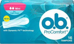 Εικόνα συσκευασίας PROCOMFORT™ Mini. Το προϊόν έχει δύο σταγόνες, υποδεικνύοντας ότι συνιστάται για μικρή ροή και τις κοπέλες που χρησιμοποιούν ταμπόν για πρώτη φορά.