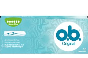 Εικόνα συσκευασίας o.b.<sup>®</sup> Original Super Plus. Το προϊόν έχει έξι σταγόνες, υποδεικνύοντας ότι συνιστάται για μεγάλη έως πολύ μεγάλη ροή.