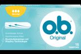 Εικόνα συσκευασίας o.b.® Original Normal. Το προϊόν έχει τρεις σταγόνες, υποδεικνύοντας ότι συνιστάται για μικρή έως μέτρια ροή.