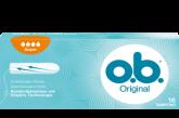 Εικόνα συσκευασίας o.b.<sup>®</sup> Original Normal. Το προϊόν έχει τέσσερις σταγόνες, υποδεικνύοντας ότι συνιστάται για μέτρια έως μεγάλη ροή.