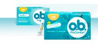Εικόνα διαφόρων προϊόντων της σειράς Ταμπόν o.b.<sup>®<sup>: o.b.<sup>®</sup> Original και o.b.<sup>®</sup> PROCOMFORT™