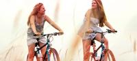 Εικόνα που δείχνει δύο κοπέλες να κάνουν ποδήλατο. Η εικόνα δείχνει ότι μπορείς να συνεχίσεις τις περισσότερες δραστηριότητές σου ακόμα και κατά την περίοδό σου, όπως ποδηλασία, τρέξιμο, γυμναστική, κολύμπι, κ.τ.λ.